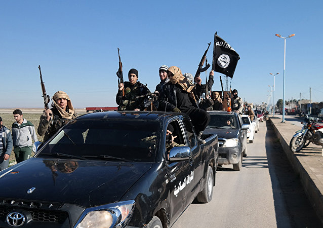Daesh  terrorists pass by a convoy in Tel Abyad, northeast Syria (File)