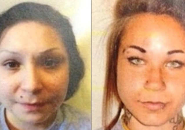 The prisoners, Kelsie Laine Marie Mast, 23, right, and Samantha Faye Toope, 20, left.