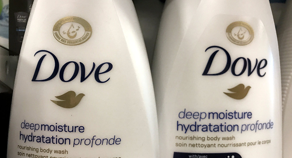 Two bottles of Dove's Deep Moisture body wash are displayed in Toronto, Ontario, Canada, October 8, 2017