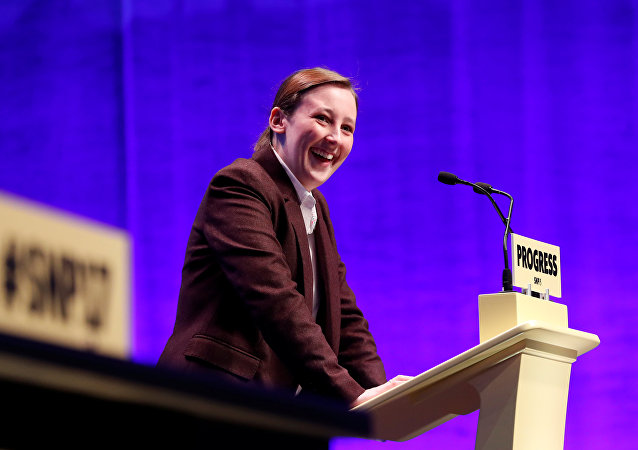 Member of Parliament, Mhairi Black speaks at the Scottish National Party (SNP) conference in Glasgow, Scotland