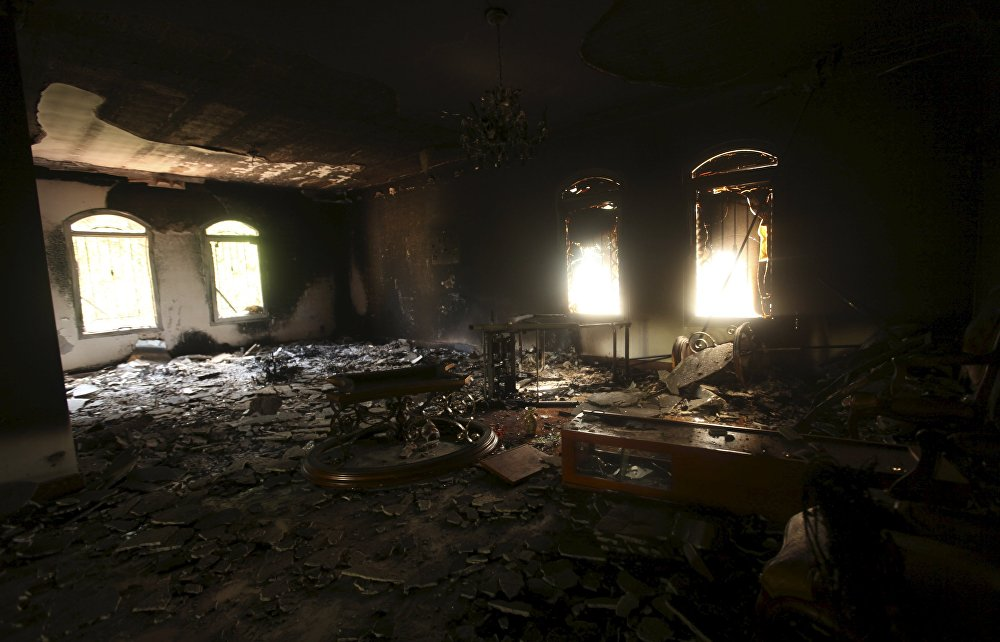 An interior view of the US consulate, which was attacked and set on fire by gunmen, in Benghazi, in this September 12, 2012.