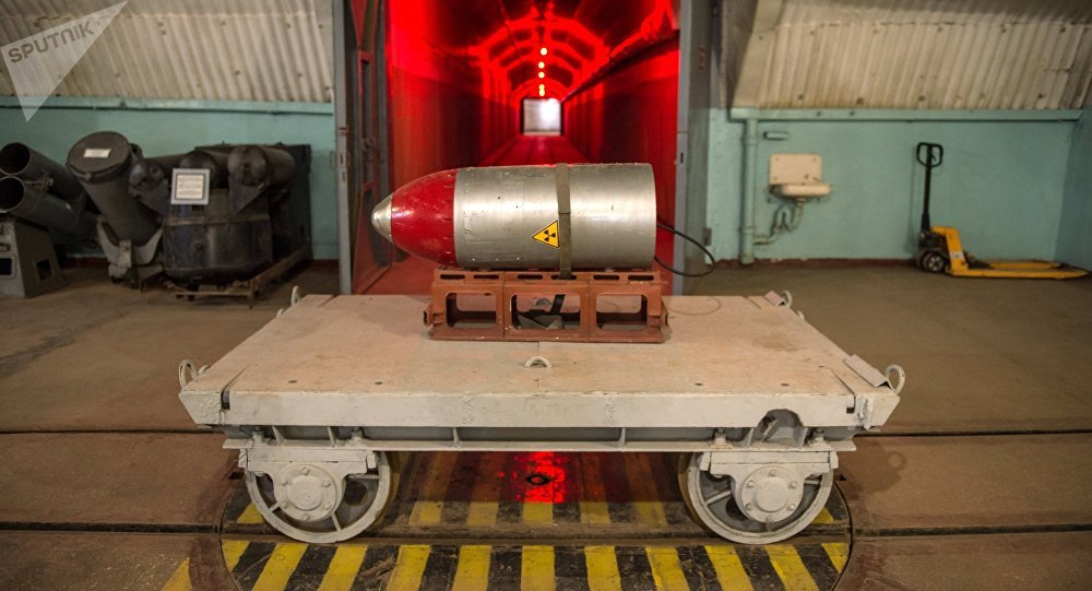 Nuclear payload on a trolley in a tunnel of the nuclear arsenal loading area at the Balaklava Naval Museum (submarine museum) in the Crimea.
