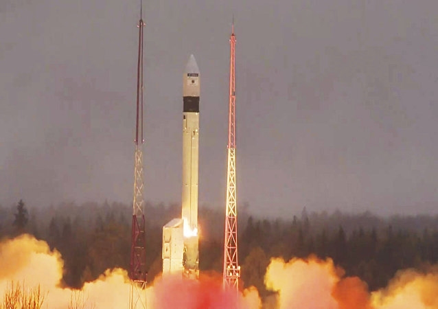 In this photo provided bi the European Space Agency ESA, the atmosphere-monitoring satellite for Europe's Copernicus programme, Sentinel-5P, lifted off from the Plesetsk Cosmodrome in northern Russia Friday, Oct. 13, 2017
