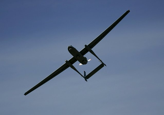 FILE - In this March 7, 2007, file photo, the Israeli army Heron TP drone, also known locally as the Eitan, flies during a display at the Palmahim Air Force Base in Palmahim, Israel
