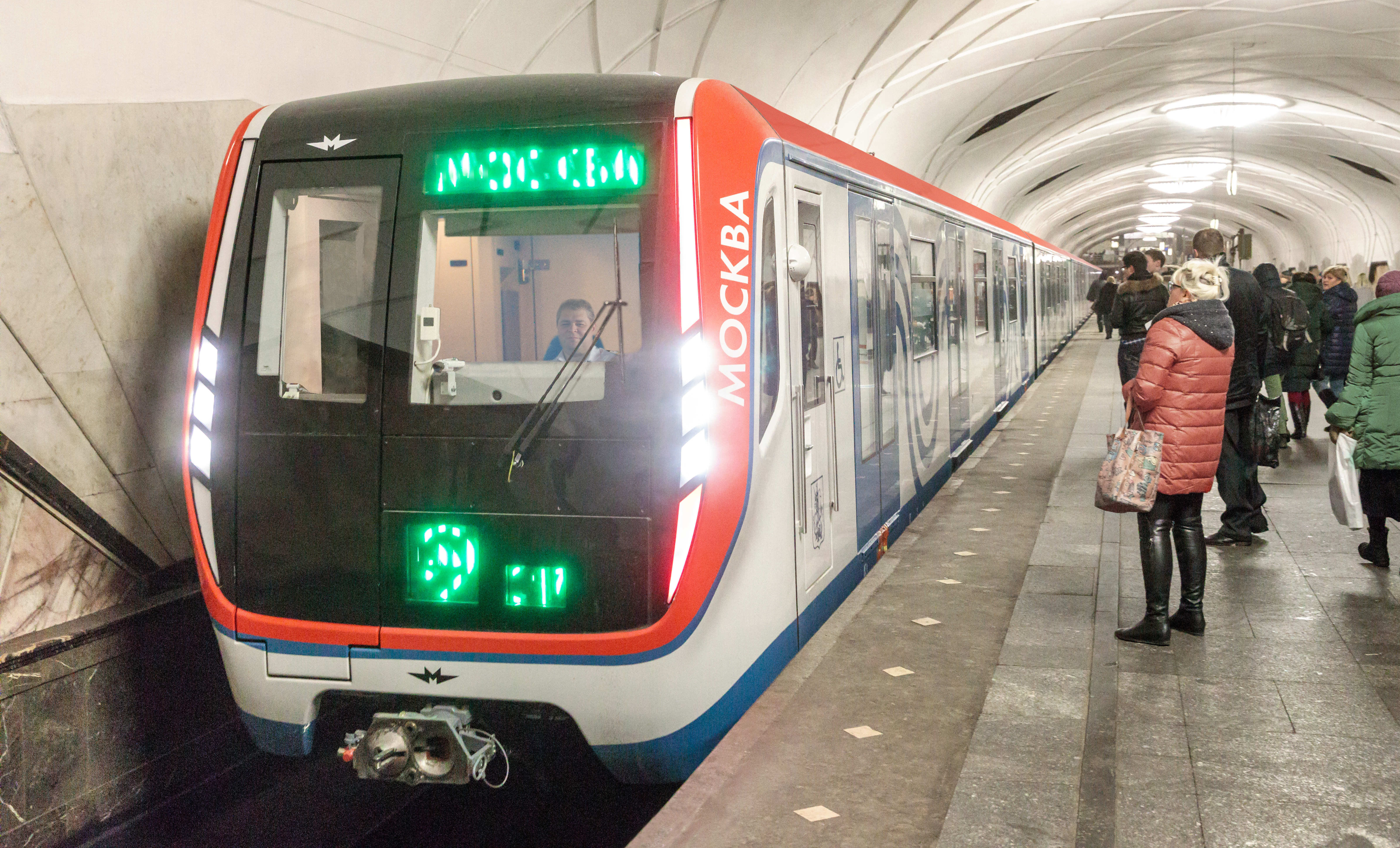 The Moskva metro train, already in service in the public transport system of the Russian capital