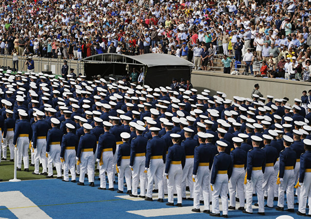 Graduating Air Force Academy cadets assemble in unison for their graduation ceremony for the class of 2015, at the U.S. Air Force Academy