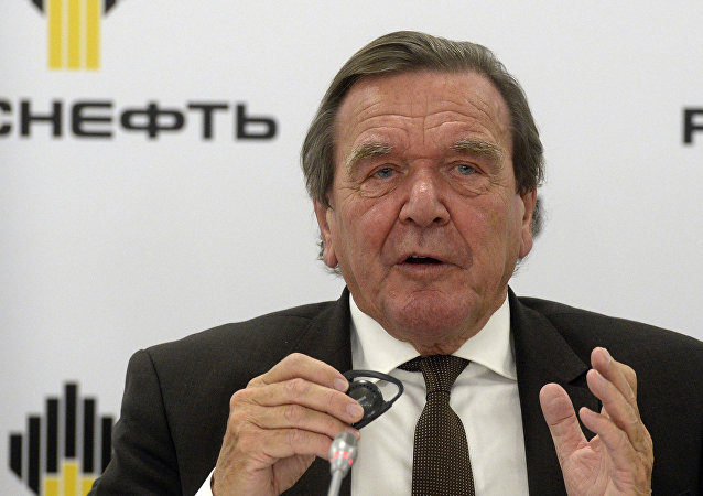 Former German Chancellor Gerhard Schroeder, newly elected chairman of the board of directors of Russia's oil giant Rosneft, speaks at a briefing in St.Petersburg, Russia, Friday, Sept. 29, 2017