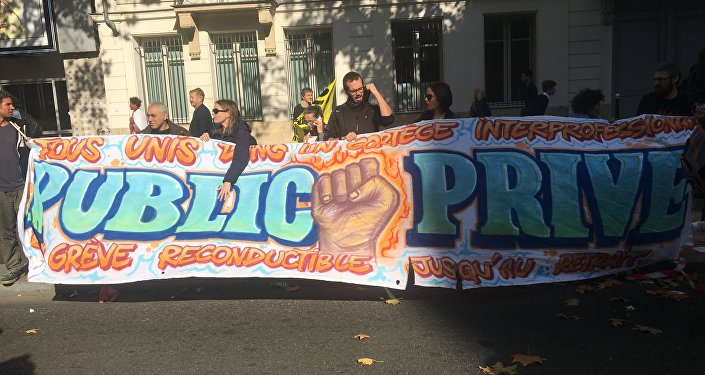 Demonstration against the French president's labour law reforms in Paris