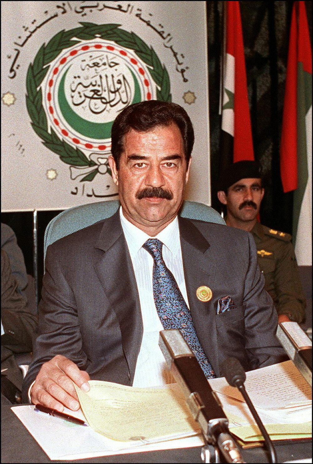 Former Iraqi President Saddam Hussein shown in file picture dated 28 May 1990 in Baghdad, addresses the opening session of the Extraordinary Arab Summit called to adopt a unified Arab stance against Soviet Jewish immigration to Israel.