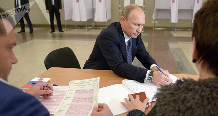 Russian President Vladimir Putin casting his vote in the Moscow mayoral elections.