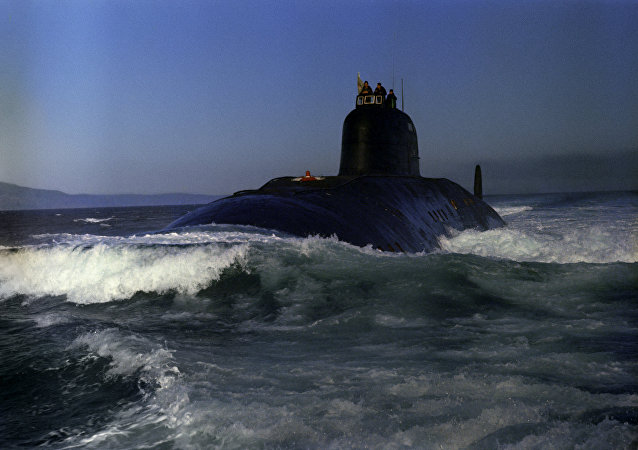 Soviet nuclear submarine 50 Let SSSR sets off for a mission.