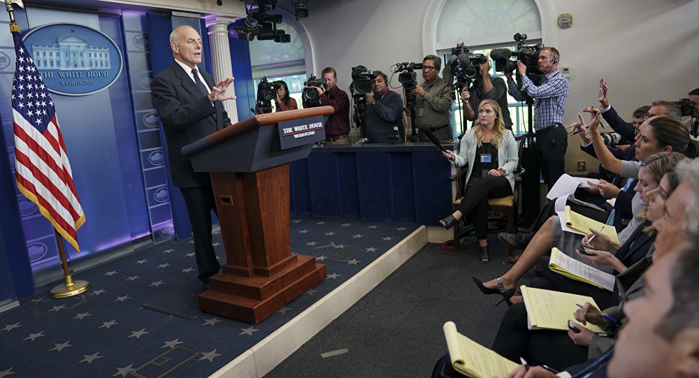White House Chief of Staff John Kelly speaks to the media during the daily briefing in the Brady Press Briefing Room of the White House in Washington, Thursday, Oct. 19, 2017