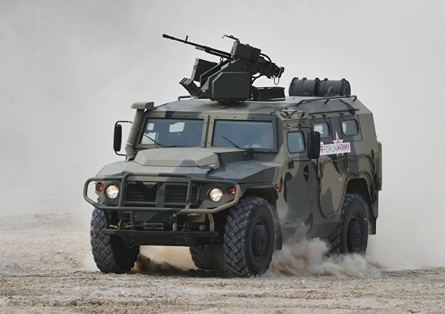 A Tigr armored vehicle carrying an Arbalet remote controlled weapon station during a show of modern and prospective weaponry at the Army 2017 International Military-Technical Forum, Moscow Region