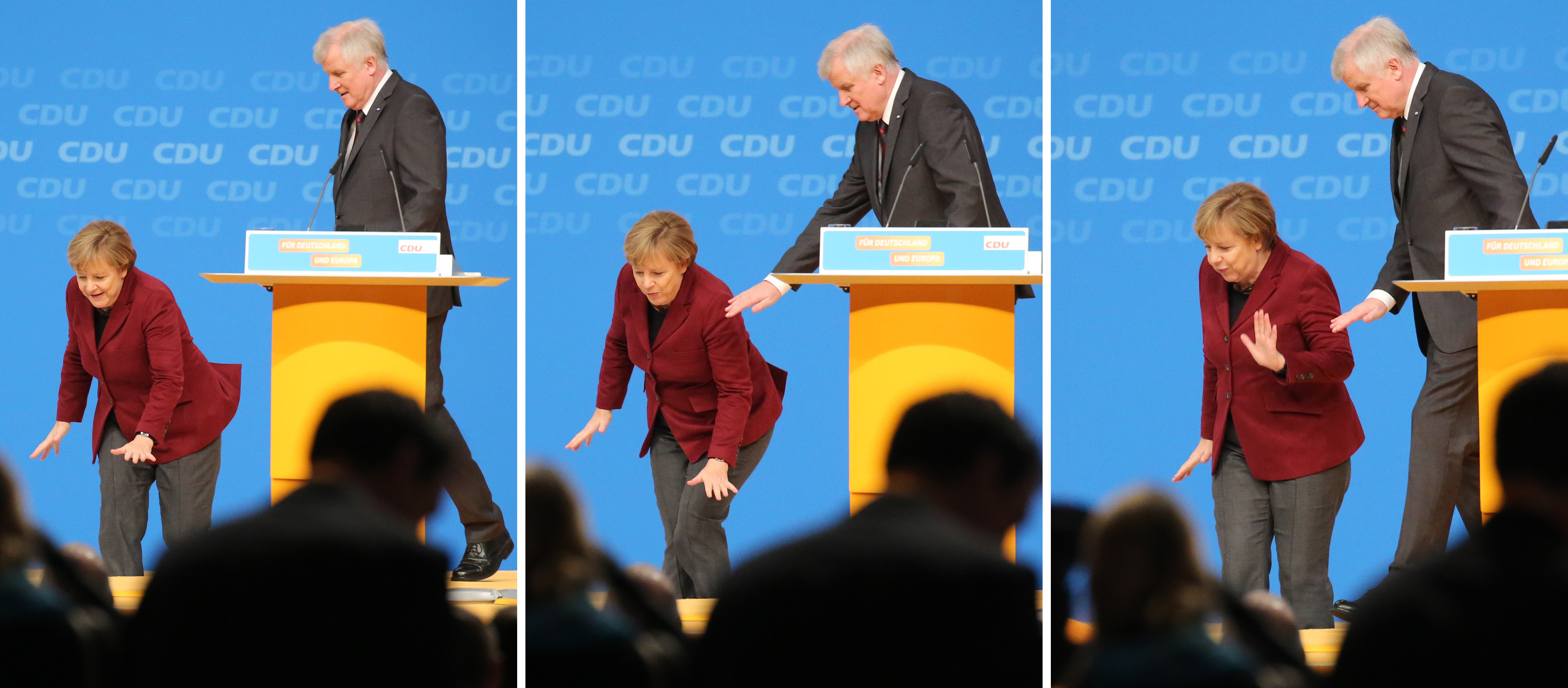 Combo shows German Chancellor and Christian Democratic Union (CDU) leader Angela Merkel stumbling on the stage as Bavarian State Premier and Christian Social Union (CSU) leader Horst Seehofer looks on during the Christian Democratic Union's (CDU) party in Karlsruhe, southern Germany, on December 15, 2015
