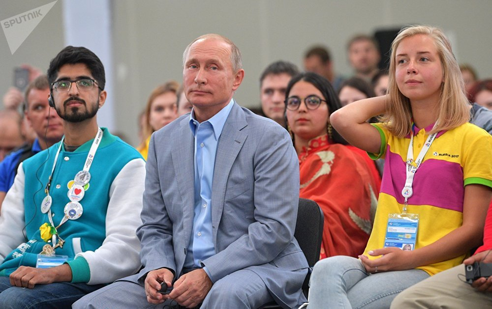 October 21, 2017. Russian President Vladimir Putin attends the panel discussion 'Youth 2030: The Image of the Future' at the 19th World Festival of Youth and Students