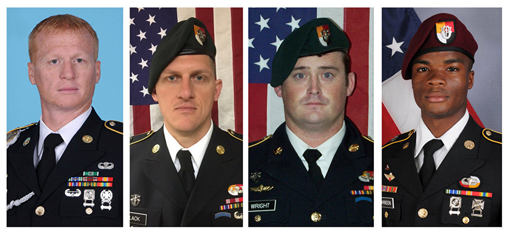A combination photo of U.S. Army Special Forces Sergeant Jeremiah Johnson (L to R), U.S. Special Forces Sgt. Bryan Black, US Special Forces Sgt. Dustin Wright and US Special Forces Sgt. La David Johnson killed in Niger, West Africa on October 4, 2017, in these handout photos released October 18, 2017.