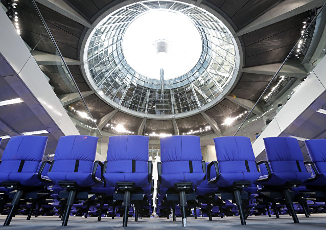 Interior view of the German Federal Parliament, Bundestag, in Berlin, Germany, Tuesday, Oct. 17, 2017.