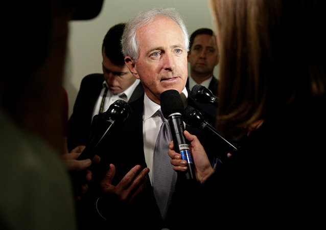 Senator Bob Corker (R-TN) speaks to reporters on Capitol Hill in Washington, U.S.