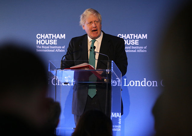 British Foreign Secretary Boris Johnson gives a speech during a Chatham House conference in central London on October 23, 2017.