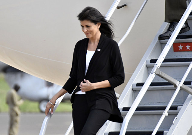 US Ambassador to the United Nations Nikki Haley arrives in Juba, South Sudan, Wednesday, Oct. 25, 2017.