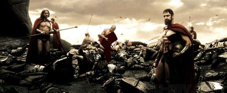 Buakaw as a warrier in the movie 300