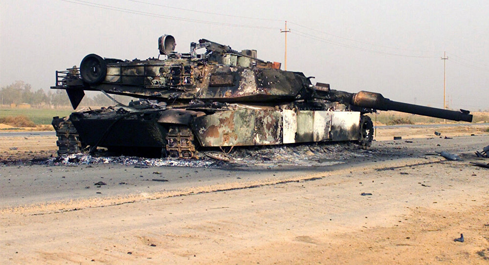 Destroyed M1A1 Abrams tank (File)