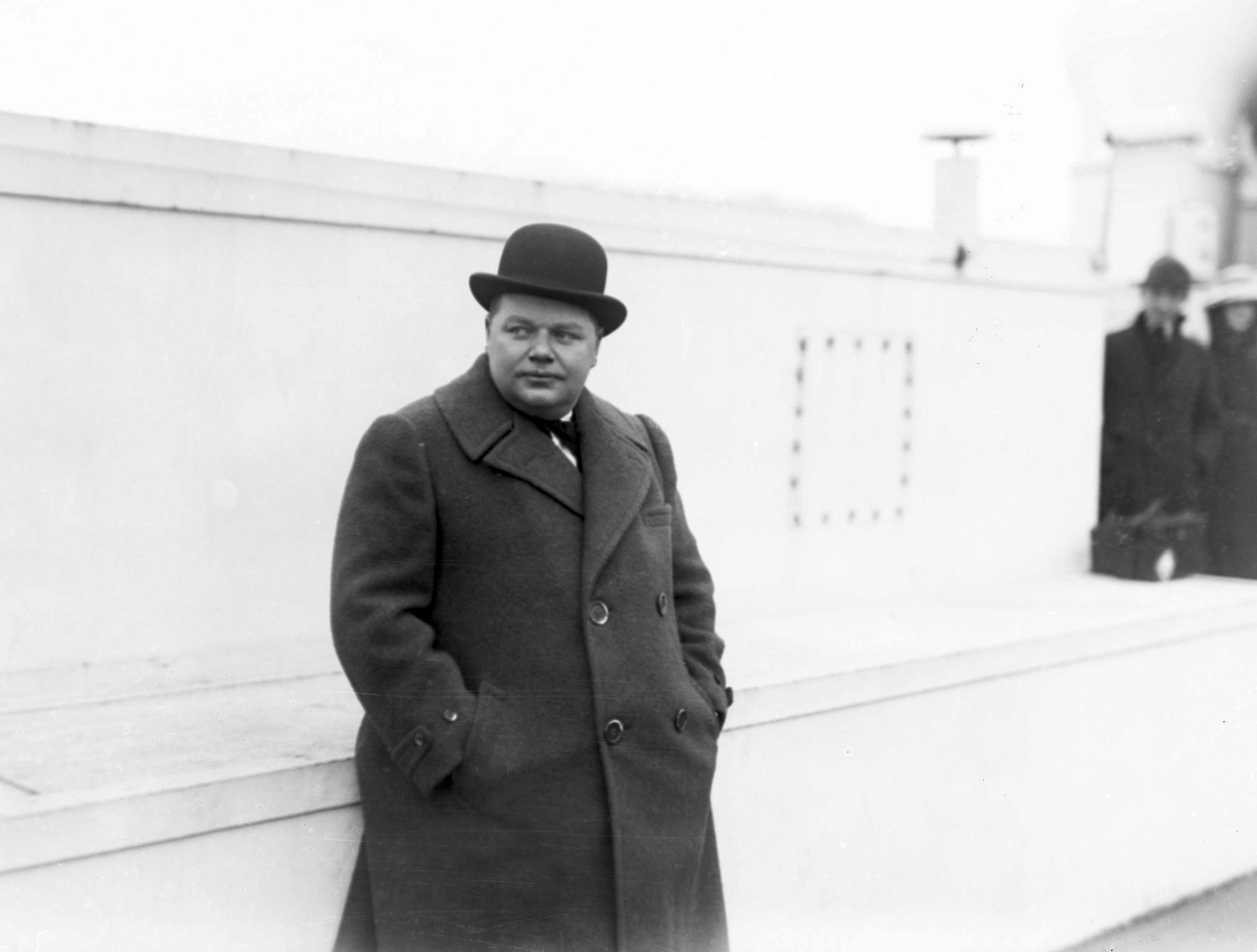 Comedian Fatty Arbuckle is pictured at an unknown location, Nov. 24, 1920