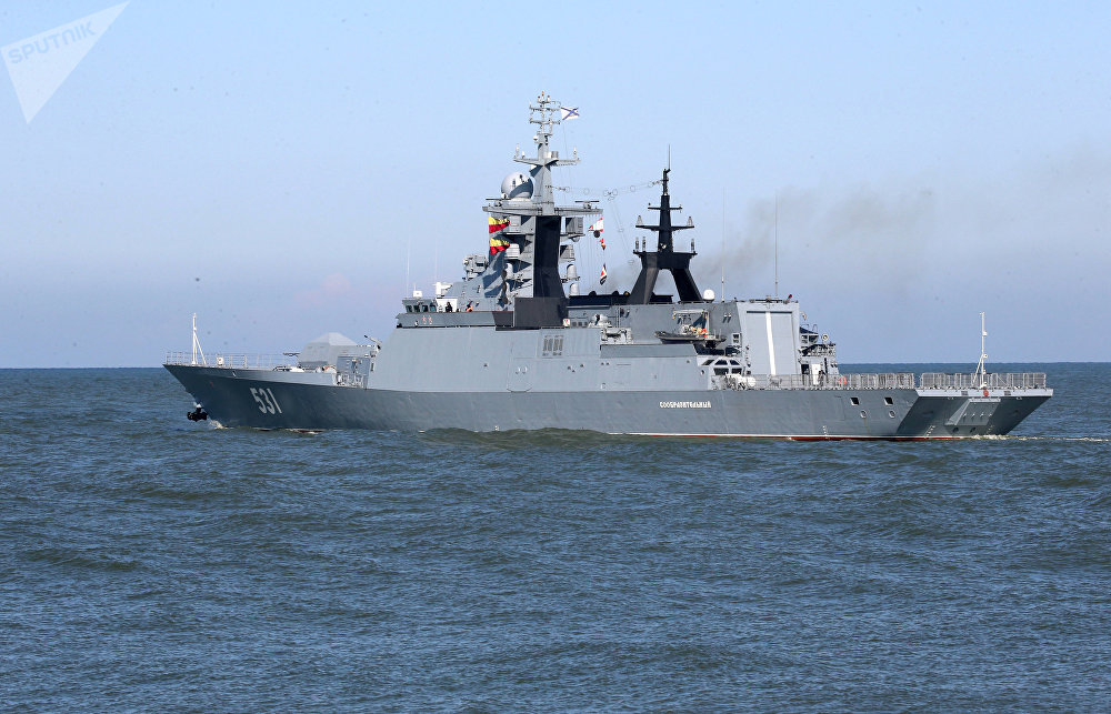 The Soobrazitelny corvette is seen here as Baltic Sea ships set out for the Zapad 2017 Russia-Belarus military exercise