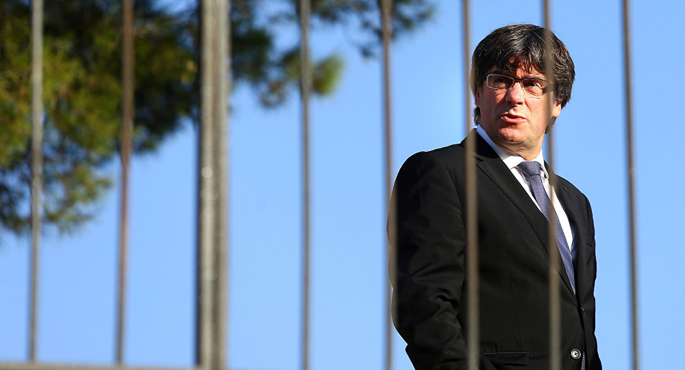 Catalan President Carles Puigdemont attends a memorial event at the tomb of former president of the Generalitat, the regional government, Lluis Companys in Barcelona, Spain, October 15, 2017.