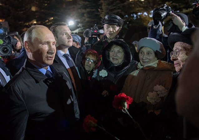 Putin at the opening of the Wall of Grief memorial in the Russian capital dedicated to victims of Soviet repression. October 30, 2017.