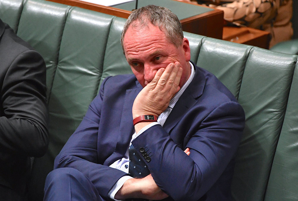 Australian Deputy Prime Minister Barnaby Joyce reacts as he sits in the House of Representatives at Parliament House in Canberra, Australia, October 25, 2017. Picture taken October 25, 2017.