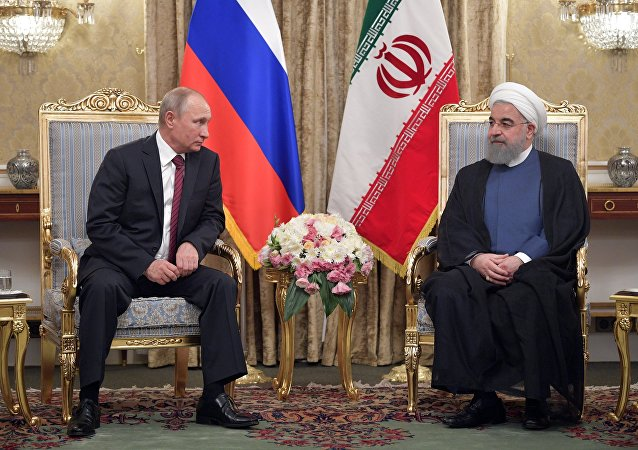 President Vladimir Putin and President of Iran Hassan Rouhani during a meeting in Tehran on November 1, 2017