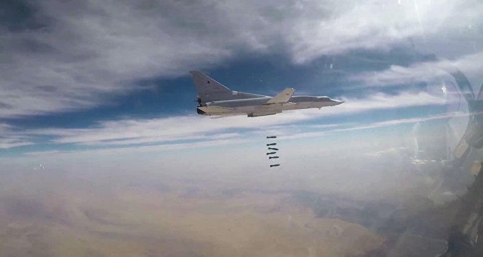A Russian Air Force long-range bomber TU-22M3 seen here bombing Daesh targets in Syrian province of Deir ez-Zor