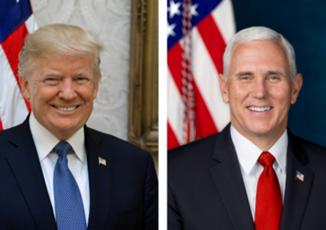 These photos, released by the White House on October 31, 2017, are the official portraits of President Donald Trump and Vice President Mike Pence.