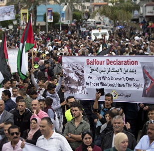 Palestinians take part in a demonstration on the 100 years anniversary of the Balfour Declaration, in Nablus, West Bank, Thursday, Nov. 2, 2017.