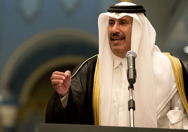 In this Tuesday, March 5, 2013 file photo, former Qatari Prime Minister and Foreign Minister Sheik Hamad bin Jassim Al Thani speaks during a news conference with US Secretary of State John Kerry, at Wajbah Palace, in Doha, Qatar.