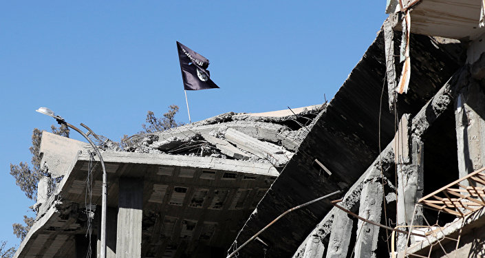 A flag of Islamic State militants is pictured above a destroyed house near the Clock Square in Raqqa, Syria October 18, 2017