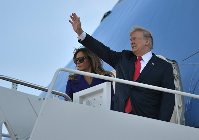 US President Donald Trump and First Lady Melania Trump board Air Force One departing from Andrews Air Force Base, Maryland on November 3, 2017, embarking on a 11-day tour of Asia