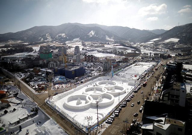 An ice sculpture of the Olympic rings is seen during the Pyeongchang Winter Festival, near the venue for the opening and closing ceremony of the PyeongChang 2018 Winter Olympic Games in Pyeongchang, South Korea, February 10, 2017