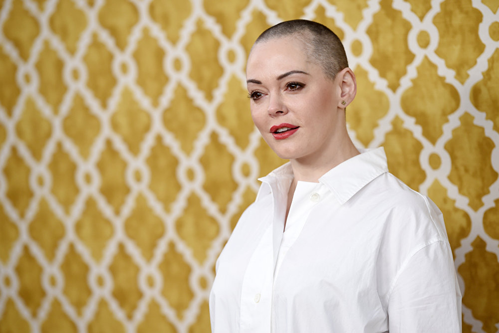 Actress Rose McGowan poses at the premiere of the HBO film at Paramount Studios in Los Angeles. (File)