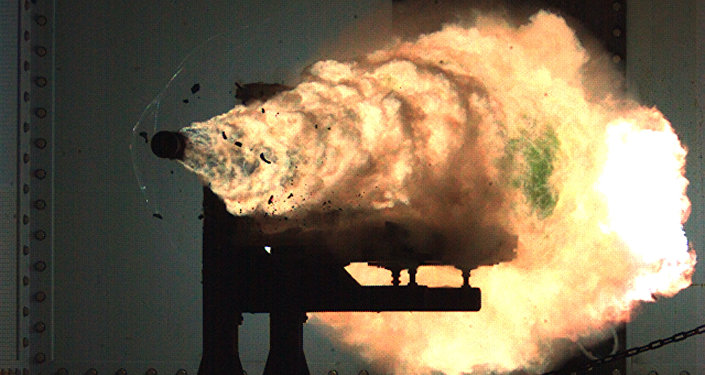 Record-setting firing of an electromagnetic railgun (EMRG). (File)