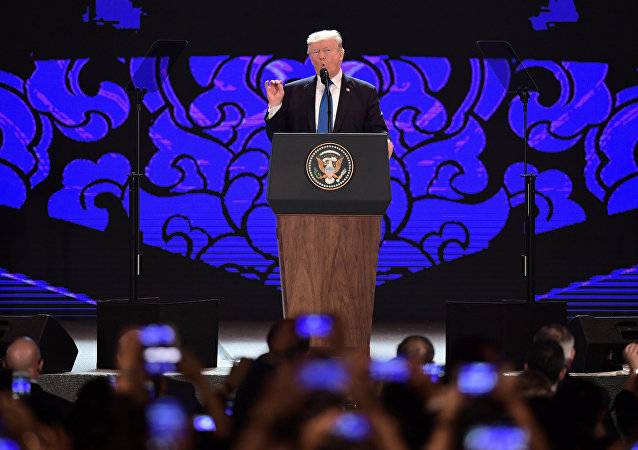 U.S. President Donald Trump speaks on the final day of the APEC CEO Summit, part of the broader Asia-Pacific Economic Cooperation (APEC) leaders' summit, in Danang, Vietnam, November 10, 2017