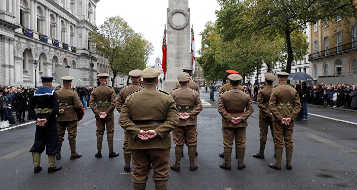Members of the Western Front Association stand at the Cenotaph in a service to remember servicemen and women killed conflict, in London, Britain November 11, 2017