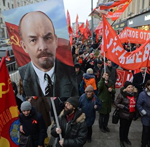Participants in a rally and a march to mark the 100th anniversary of the October Revolution, Moscow