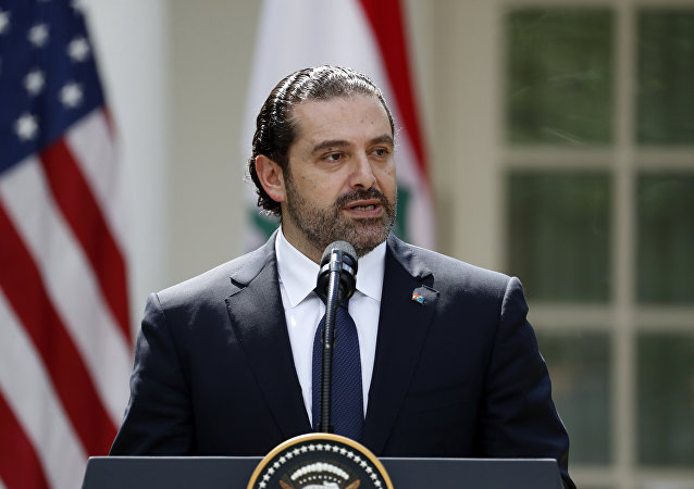 Lebanese Prime Minister Saad Hariri speaks during a joint news conference with President Donald Trump in the Rose Garden of the White House, Tuesday, July 25, 2017, in Washington
