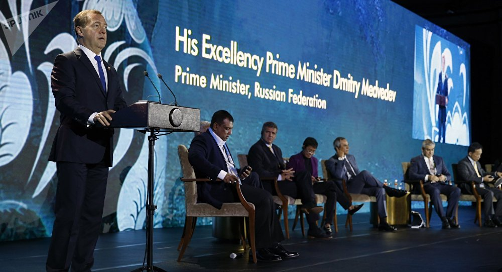 Russian Prime Minister Dmitry Medvedev speaking at the 31st ASEAN summit