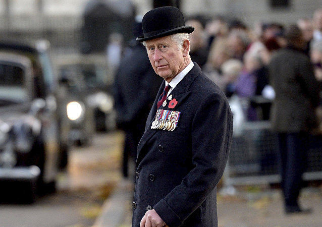Britain's Prince Charles, The Prince of Wales after laying a wreath during Remembrance Day at the Guards' Memorial in London, Sunday Nov. 12, 2017