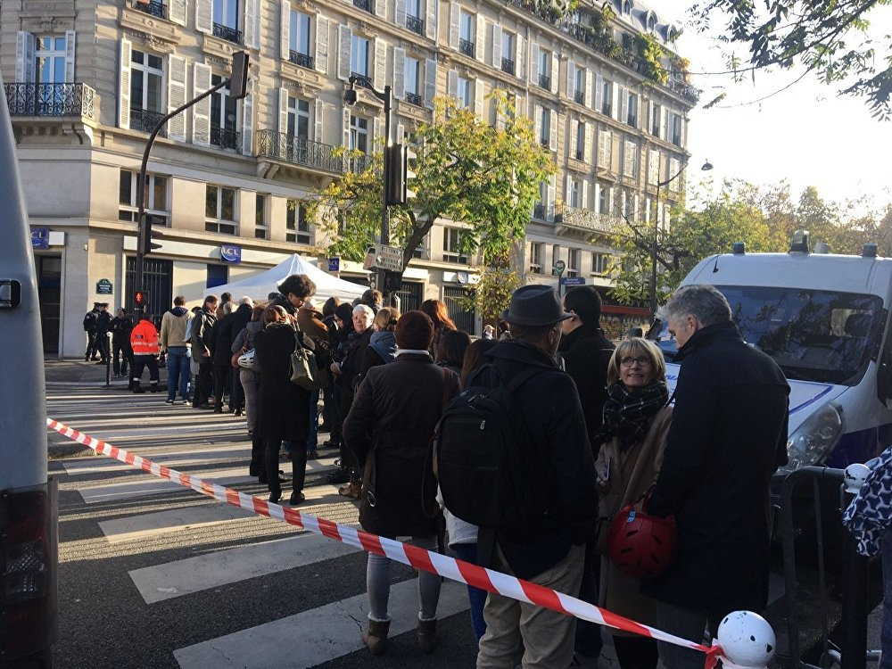 Parisians in front of the Bataclan concert hall. November 13, 2017
