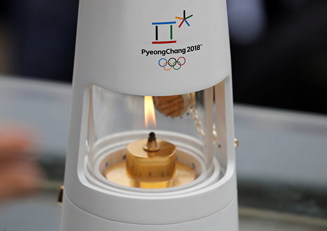 Athletics Olympic - Flame Handover Ceremony For Pyeongchang 2018 Olympics - Panathenaic Stadium, Athens, Greece - October 31, 2017 General view of the flame during the handover ceremony