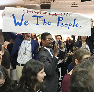 Protesters interrupt a U.S. government pro-coal event during the COP23 UN Climate Change Conference 2017, hosted by Fiji but held in Bonn, Germany, November 13, 2017
